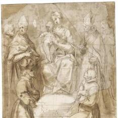 La Virgen y le Niño con seis santos