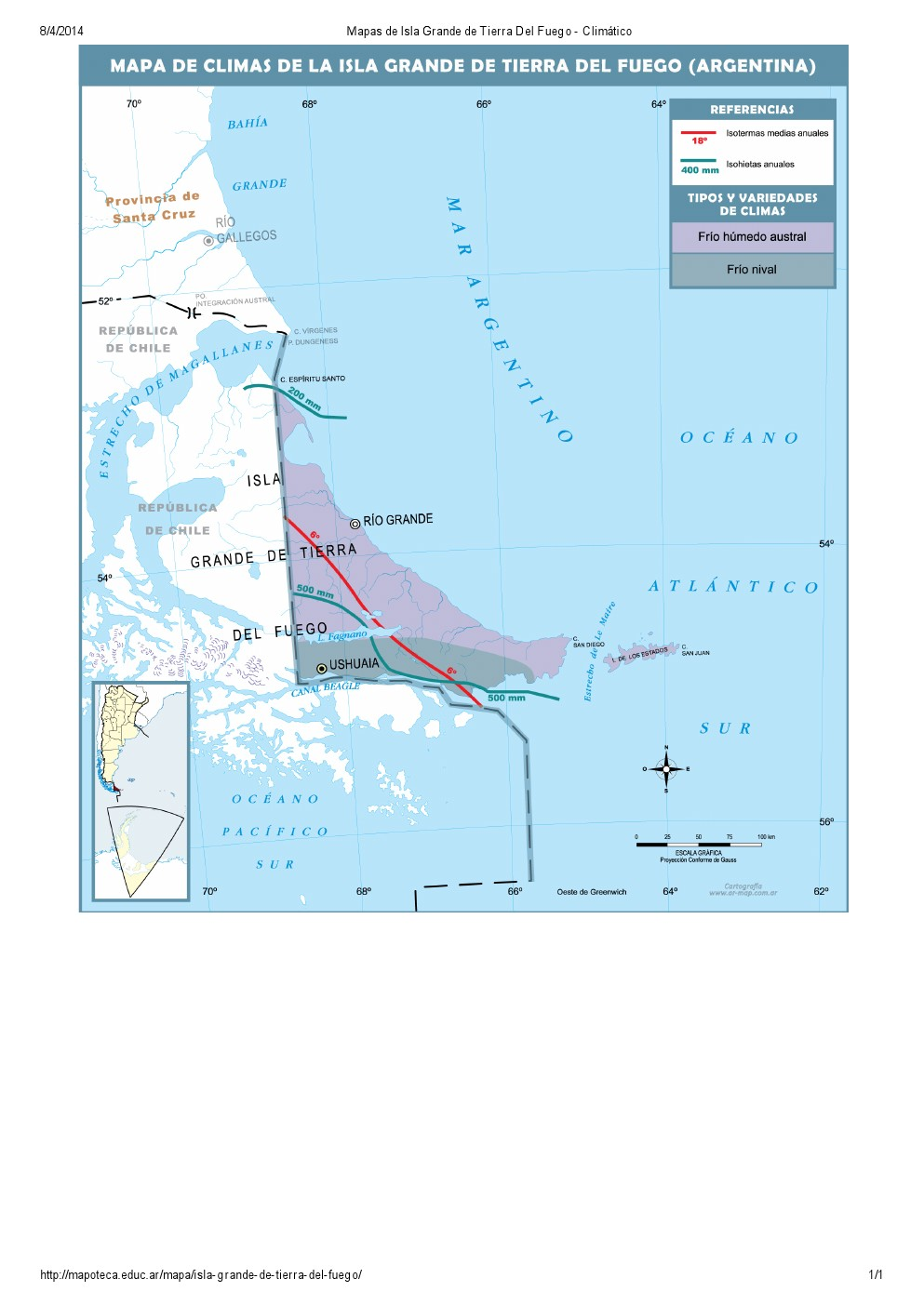 Mapa climático de Isla Grande de Tierra del Fuego. Mapoteca de Educ.ar