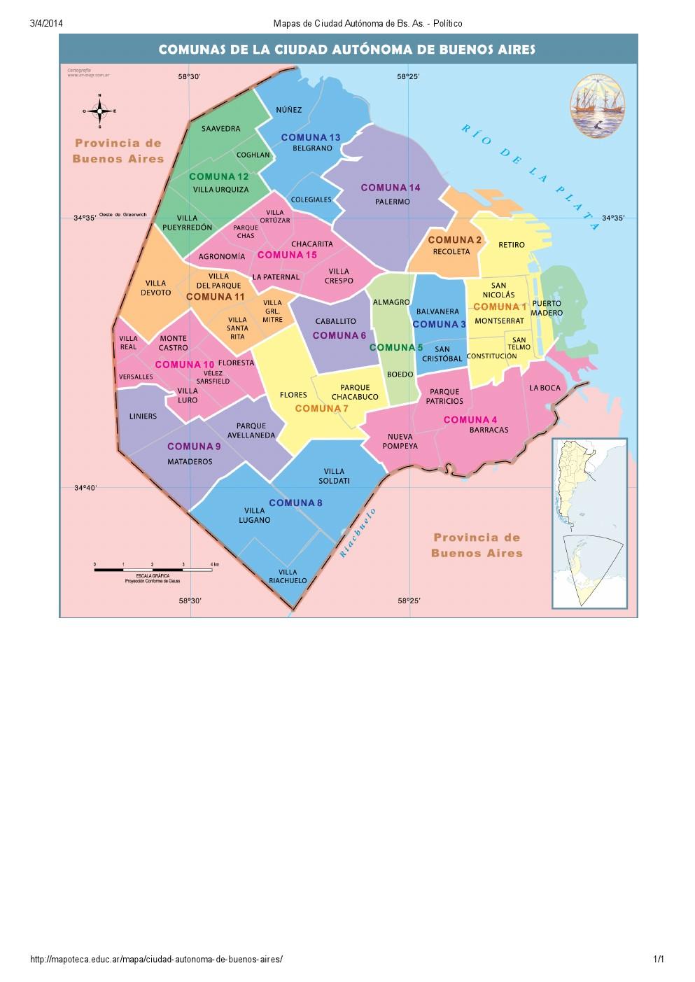 Mapa de comunas de la ciudad de Buenos Aires. Mapoteca de Educ.ar