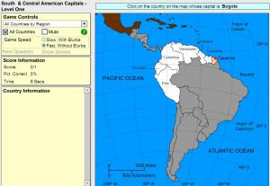 Capitals of South and Central America. Beginner. Sheppard Software