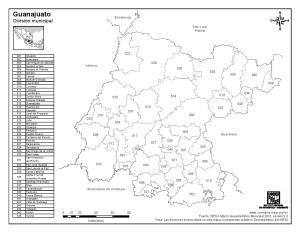 Mapa de municipios de Guanajuato. INEGI de México