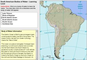 Oceans and lakes of South America. Tutorial. Sheppard Software