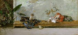 Los hijos del pintor, María Luisa y Mariano, en el salón japonés
