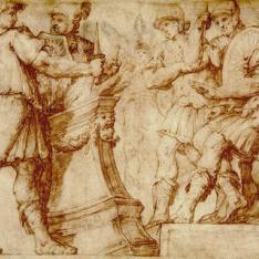 Mucio Scevola pone la mano en el fuego delante de Porsena