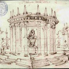 Fantasía arquitectónica con un templo dedicado a las Artes