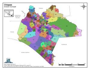 Mapa en color de los municipios de Chiapas. INEGI de México