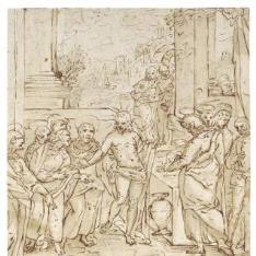 Cristo repartiendo el pan entre los Apóstoles
