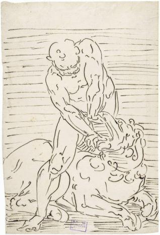 Hércules separando las fauces del león de Nemea