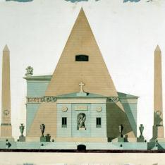 Alzado lateral de pirámide para el concurso del monumento a las víctimas del Dos de Mayo