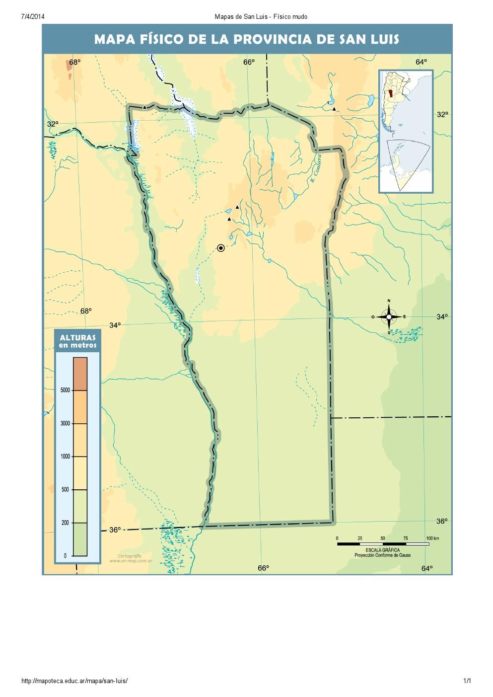 Mapa mudo de ríos de San Luis. Mapoteca de Educ.ar