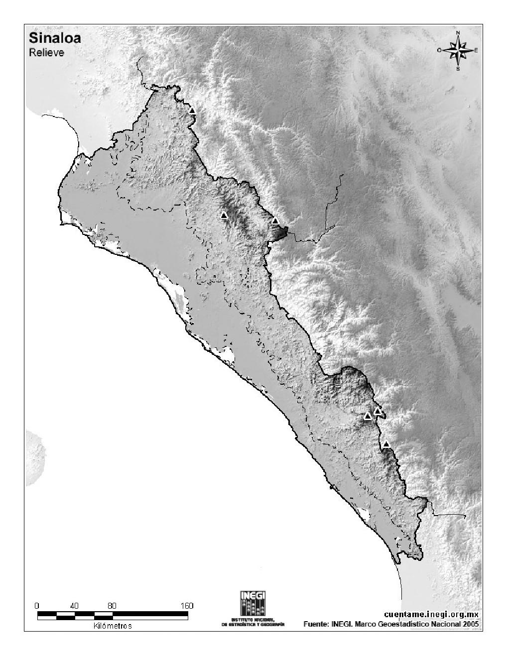 Mapa mudo de montañas de Sinaloa. INEGI de México