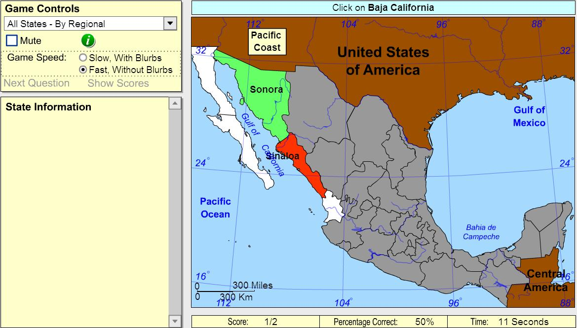 States of Mexico. Beginner. Sheppard Software