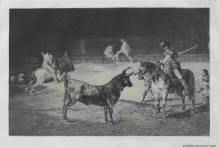 El célebre Fernando del Toro, barilarguero, obligando a la fiera con su garrocha
