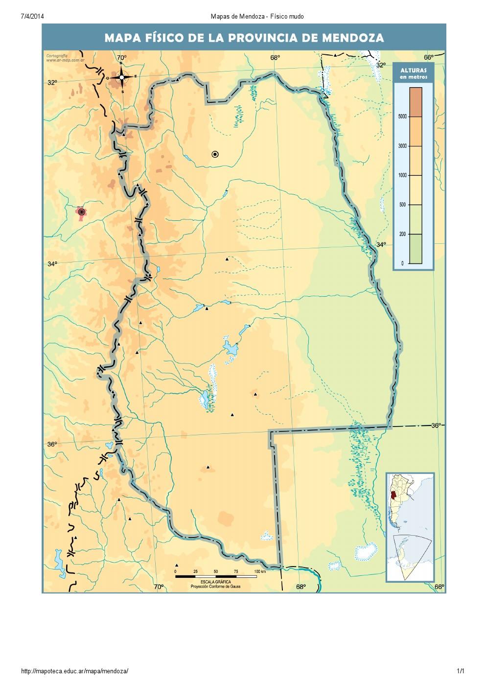 Mapa mudo de ríos de Mendoza. Mapoteca de Educ.ar