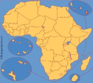 Países de África. Dibujos para pintar