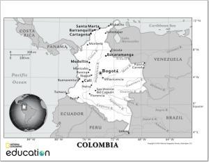 Mapa de ciudades y ríos de Colombia. National Geographic