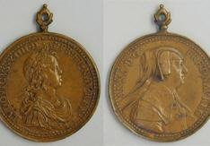 Medalla de Luis XIV de Francia y su madre Ana de Austria