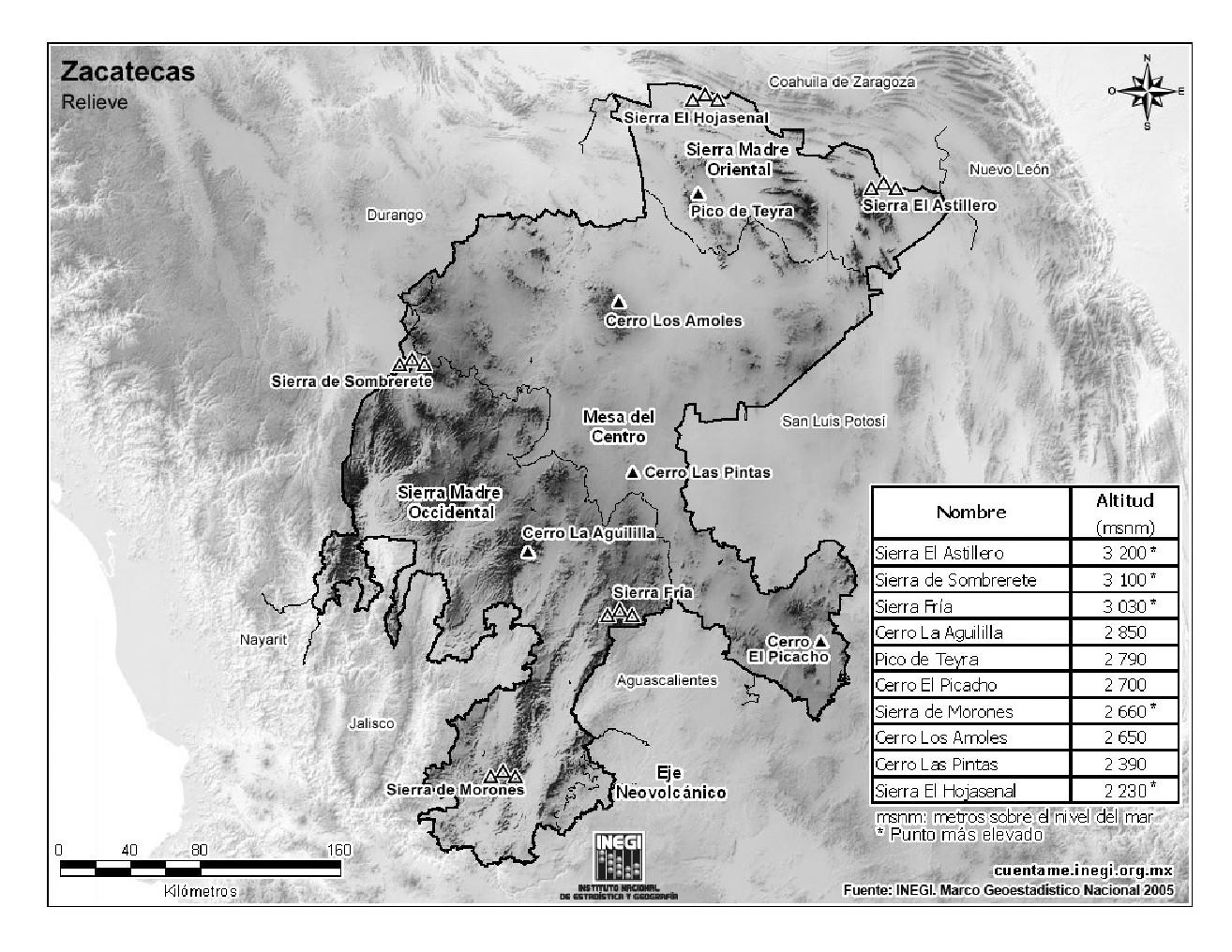Mapa de montañas de Zacatecas. INEGI de México