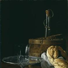 Bodegón con caja de jalea, rosca de pan, enfriador con botella, salvilla de plata y vaso