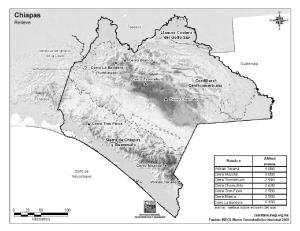 Mapa de montañas de Chiapas. INEGI de México