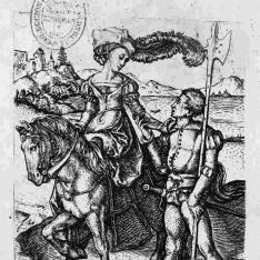 Mujer a caballo y lancero
