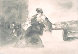 La heroína de Zaragoza en el momento de disparar un cañón