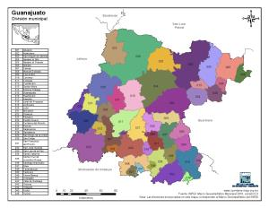 Mapa en color de los municipios de Guanajuato. INEGI de México