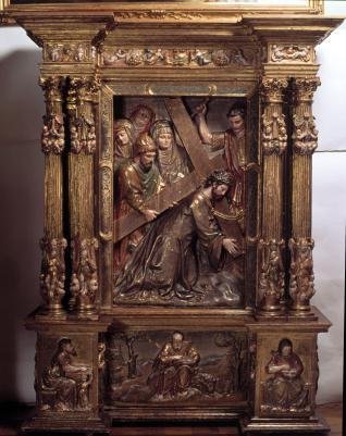 Fragmento de retablo con Cristo camino del Calvario