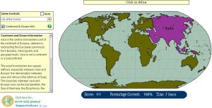 Continents and Oceans of the World. Beginner. Sheppard Software