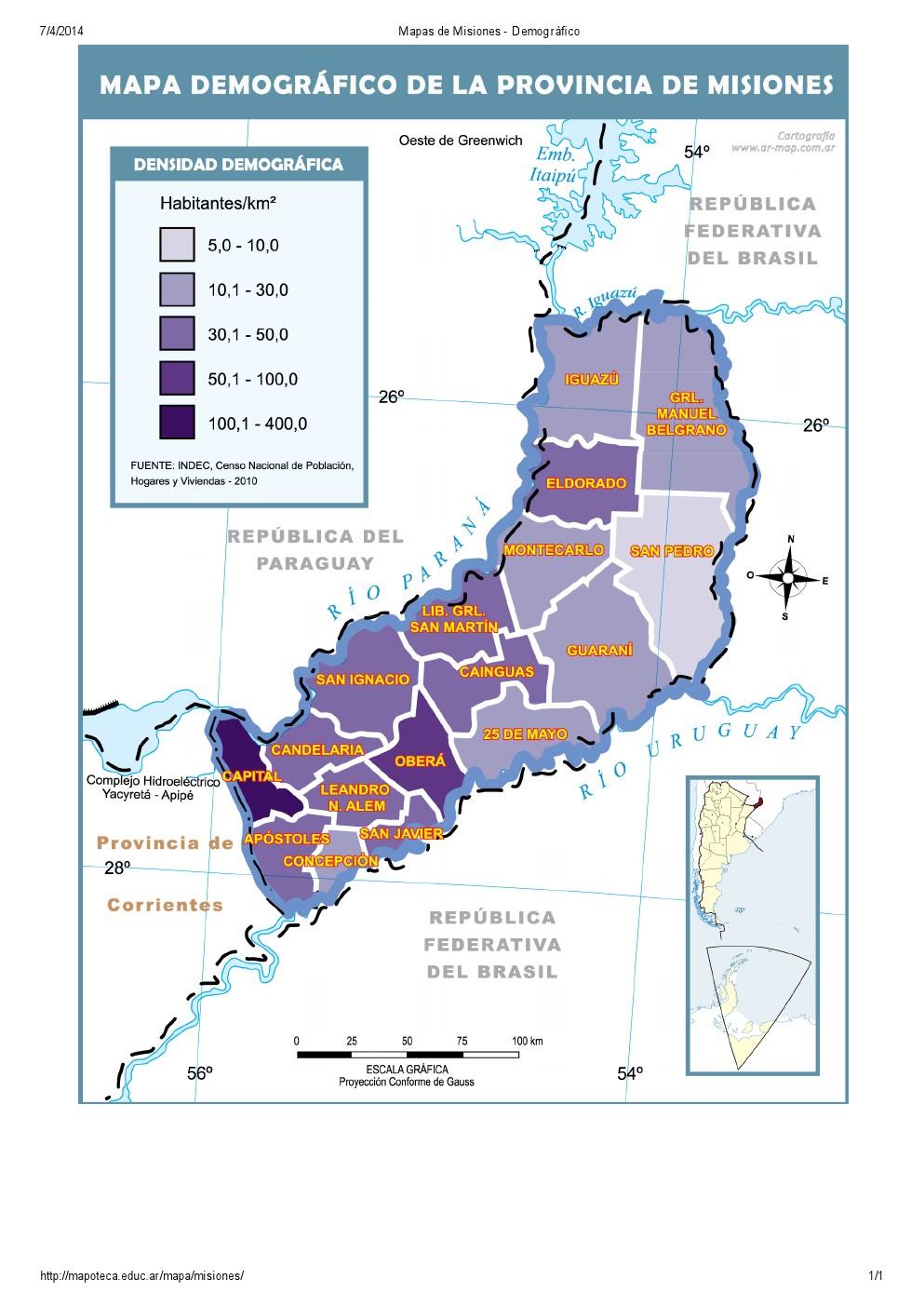 Mapa demográfico de Misiones. Mapoteca de Educ.ar