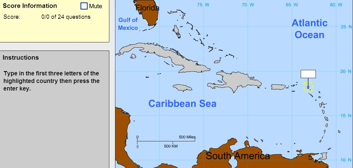 Countries of the Caribbean. Advanced Beginner. Sheppard Software