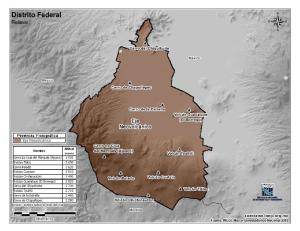 Mapa en color de montañas de Ciudad de México. INEGI de México