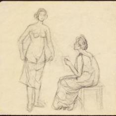 Sin título. (Dos mujeres, una de pie y otra sentada)