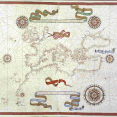 Mapa del Mar Mediterráneo con el occidente de Europa y Africa