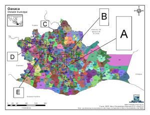 Mapa en color de los municipios de Oaxaca. INEGI de México