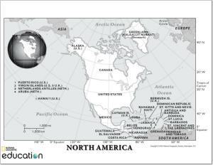 Mapa de países de América del Norte. National Geographic
