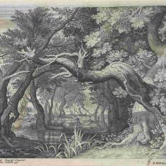 Caza de ciervos, junto a un lago