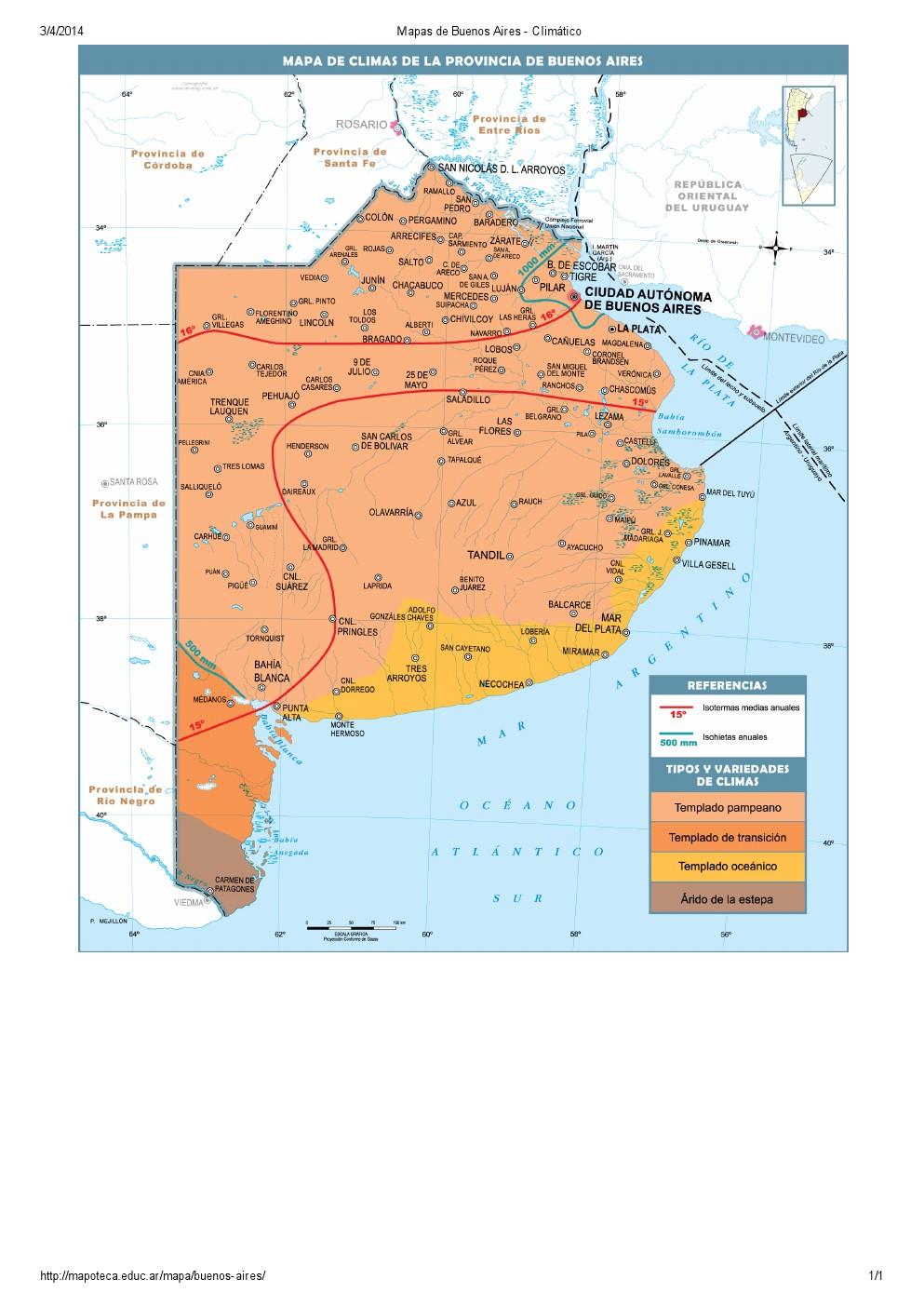 Mapa climático de Buenos Aires. Mapoteca de Educ.ar