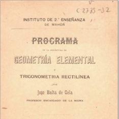 Programa de la asignatura de geometría elemental y trigonometría rectilínea