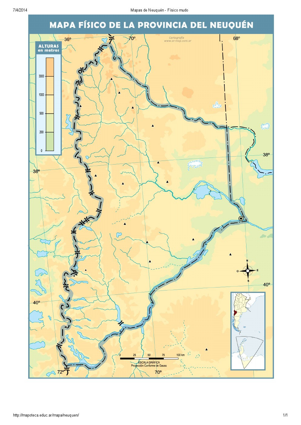 Mapa mudo de ríos de Neuquén. Mapoteca de Educ.ar