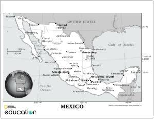 Mapa de ciudades y ríos de México. National Geographic