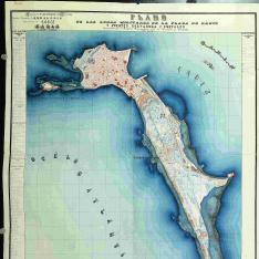 Plano de las zonas militares de la Plaza de Cadiz y Fuertes Cortadura y Puntales