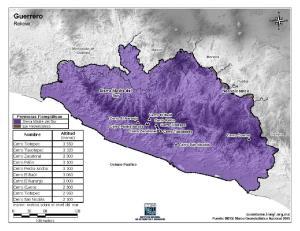 Mapa en color de montañas de Guerrero. INEGI de México