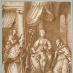 La Virgen y el Niño con San José, San Antonio Abad y un santo obispo