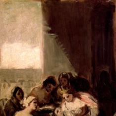 Santa Isabel de Portugal curando las llagas a una enferma