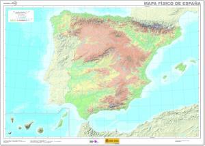 Mapa de ríos y montañas de España. IGN