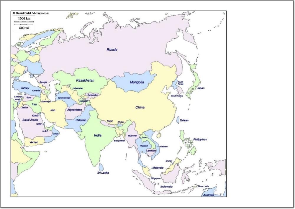 Mapa de países de Asia. d-maps