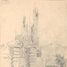 Estudio femenino con sombrilla y formas arquitectónicas - Puerta, Escorial