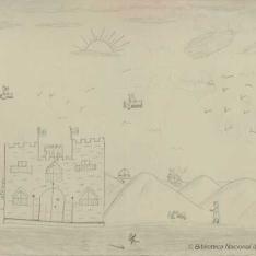 Paisaje con castillo y aviones