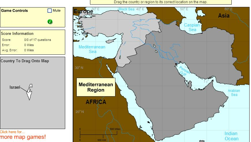 Countries of Middle East. Advanced Beginner. Sheppard Software